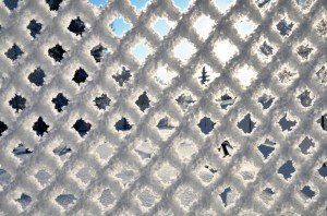 Frost Covered chain link fences